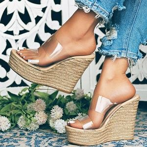 NEW🔥 Clear Nude Open Toe Espadrille Wedge Sandals